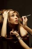 Make-up artist doing glamour makeup Royalty Free Stock Photo