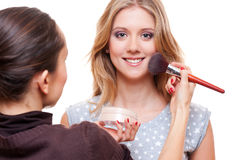 Make up artist doing make up royalty free stock image