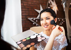 Make-up Artist Doing Make Up For Bride Royalty Free Stock Photo