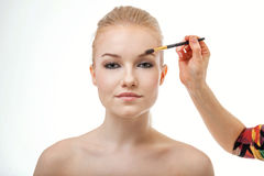 Make up artist doing professional make up of young woman Stock Photos