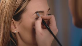 Make-up artist draws and induces the shape of eyebrows with a professional brush on the face of a Caucasian blonde model. Close-up, make-up business woman stock video footage
