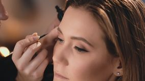 Make-up artist gently applies a black wet eyeliner to the eyelids, with a professional brush on the face of a beautiful. Caucasian blonde model. Profile view stock footage