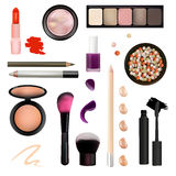 Make Up Artist Objects. lipstick, eye shadows, eyeliner, concealer, nail polish, brushes,pencils, palettes, powder. Isolated. Make Up Artist Objects. Isolated Royalty Free Stock Photography