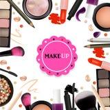 Make Up Artist Objects. lipstick, eye shadows, eyeliner, concealer, nail polish, brushes,pencils, palettes, powder. Vector Emblem. Royalty Free Stock Images