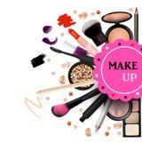 Make Up Artist Objects. lipstick, eye shadows, eyeliner, concealer, nail polish, brushes,pencils, palettes, powder. Vector Emblem. Royalty Free Stock Photo