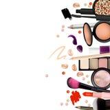 Make Up Artist Objects. lipstick, eye shadows, eyeliner, concealer, nail polish, brushes,pencils, palettes, powder. Vector  Stock Photography