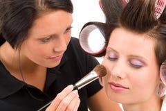 Make-up artist woman fashion model apply powder. Blush rouge brush Royalty Free Stock Photo