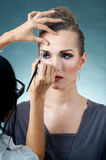 Make-up artist at work Royalty Free Stock Photo