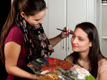 Make-up artist at work Royalty Free Stock Photos