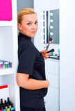 Make up artist at work Royalty Free Stock Photography
