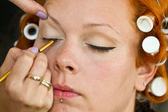 Make up artist at work Royalty Free Stock Photo