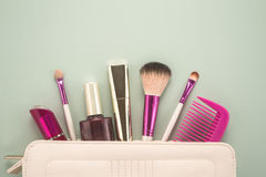 Make up bag with cosmetics Royalty Free Stock Photography