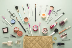 Make up bag with cosmetics Stock Images