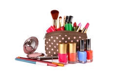 Make up bag. With cosmetics and brushes isolated on white Royalty Free Stock Photos