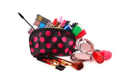 Make up bag. With cosmetics and brushes isolated on white Royalty Free Stock Photography
