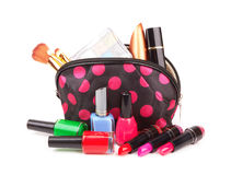 Make up bag. With cosmetics and brushes isolated on white Royalty Free Stock Image