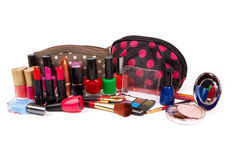 Make up bag. With cosmetics and brushes isolated on white Stock Images