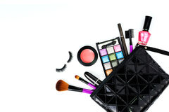 Make up bag with cosmetics and brushes isolated on white Royalty Free Stock Image
