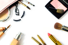 Make up bag with cosmetics and brushes isolated on white Stock Image