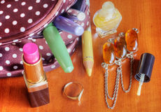 Make up bag with cosmetics Royalty Free Stock Photos