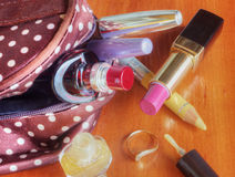 Make up bag with cosmetics Royalty Free Stock Images