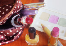 Make up bag with cosmetics Royalty Free Stock Photo