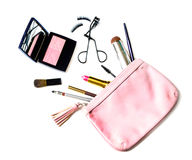 Make up bag with cosmetics isolated Royalty Free Stock Images