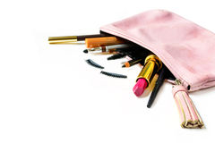 Make up bag with cosmetics isolated Royalty Free Stock Photos