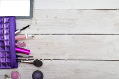 Make up bag with cosmetics: mascara, eye shadow, brushes for sha Stock Photos