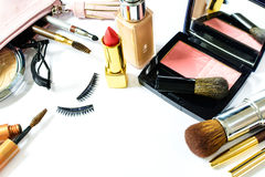 Free Make Up Bag With Cosmetics And Brushes Isolated On White Stock Images - 63148644