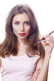 Make Up. Beautiful brunette woman Royalty Free Stock Images