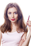 Make Up. Beautiful brunette woman Stock Photo