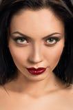 Make up beautiful model close up. red lips Stock Photos