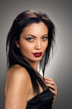 Make up beautiful model portrait. red lips Stock Photography
