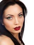 Make up beautiful model red lips Royalty Free Stock Image