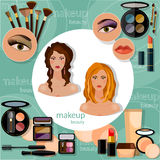 Make-up beautiful woman face brunette blonde model Royalty Free Stock Images