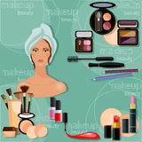 Make-up beautiful woman face proffesional makeup collection Royalty Free Stock Photo
