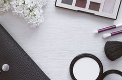 Make up beauty and fashion background. royalty free stock photography