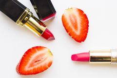 Matte lipstick on white royalty free stock photography