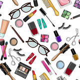 Make up and beauty items seamless pattern Royalty Free Stock Photography