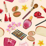 Make Up and Beauty Symbols seamless pattern Stock Photos