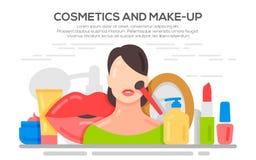 Make up beauty woman concept banner. Stock Photos