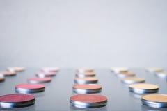 Make-up blush background. Close-up of tester display blush make-up Royalty Free Stock Photo