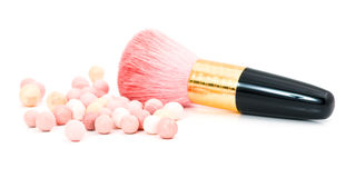 Make-up  blush and cosmetic brush Stock Image