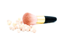Make-up blush and cosmetic brush Royalty Free Stock Images
