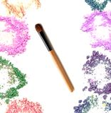 Make up blush with crushed powder cosmetic. Mixed colors.  royalty free stock image