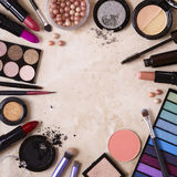 Make-up border. Make-up on a marble background Royalty Free Stock Image
