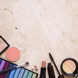 Make Up Border. Make-up border on a marble background Royalty Free Stock Photo