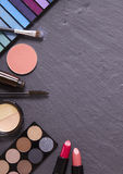Make-up border - slate. Make-up on a slate background Royalty Free Stock Photo