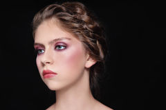Make-up and braids Royalty Free Stock Photos